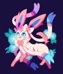 :3 black_background blue_eyes commentary creature floral_background full_body gen_6_pokemon highres looking_at_viewer no_humans pokemon pokemon_(creature) signature simple_background solo sylveon tonestarr