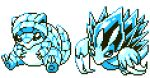 alolan_form alolan_sandshrew alolan_sandslash blue_theme claws commentary creature english_commentary full_body gen_7_pokemon looking_at_viewer monochrome no_humans pat_attackerman pixel_art pokemon pokemon_(creature) sitting sprite transparent_background