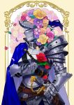 1other ambiguous_gender armor blue_cape cape commentary_request flower flower_on_head full_armor gauntlets helm helmet highres holding holding_flower knight looking_away namazu_(dc_27546) original petals rose sheath sheathed sword upper_body weapon