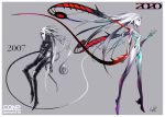 1girl absurdres artist_progress border chromatic_aberration commentary_request comparison facial_mark forehead_mark grey_background highres long_hair looking_at_viewer original palow plantar_flexion red_eyes signature tail very_long_hair white_border white_hair white_skin