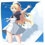 1girl blonde_hair blue_eyes blue_sailor_collar blue_sky clouds commentary_request condensation_trail cowboy_shot dress gloves hat highres jervis_(kantai_collection) kantai_collection long_hair looking_at_viewer mori_tarou open_mouth outstretched_arms round_teeth sailor_collar sailor_dress sailor_hat short_sleeves sky smile solo teeth upper_teeth white_dress white_gloves white_headwear