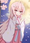 1girl :o absurdres ahoge bangs blue_flower blurry blurry_background blush clouds commentary_request depth_of_field eyebrows_visible_through_hair flower full_moon ghost_hair_ornament hair_between_eyes hair_ornament hakama highres horns japanese_clothes jiu_(sdesd3205) kimono long_hair long_sleeves looking_at_viewer moon night obi oni oni_horns open_mouth original outdoors petals pinching_sleeves pink_flower pink_hair red_eyes red_hakama sash sleeves_past_wrists solo standing tree_branch very_long_hair white_kimono wide_sleeves