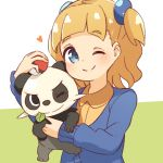 1girl blue_eyes blush commentary eyebrows_visible_through_hair gen_6_pokemon hair_tie heart highres holding holding_poke_ball holding_pokemon leaf looking_at_viewer manse mouth_hold one_eye_closed pancham poke_ball poke_ball_(generic) pokemon pokemon_(creature) pokemon_(game) pokemon_swsh school_girl_(pokemon) simple_background smile