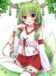 1girl :d animal_ear_fluff animal_ears bangs bare_shoulders bell blush bow breasts bubble clover commentary_request detached_sleeves eyebrows_visible_through_hair fang flower four-leaf_clover grass green_flower green_hair hair_bell hair_between_eyes hair_bow hair_flower hair_ornament jingle_bell long_hair long_sleeves looking_at_viewer maki_soutoki on_grass open_mouth original pleated_skirt red_bow red_eyes red_skirt ribbon-trimmed_legwear ribbon_trim shirt sitting skirt sleeveless sleeveless_shirt sleeves_past_wrists small_breasts smile solo tail tail_raised thigh-highs white_legwear white_shirt white_sleeves wide_sleeves yellow_flower