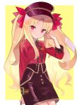 1girl bangs black_headwear black_skirt blonde_hair border bow breasts closed_mouth contemporary ereshkigal_(fate/grand_order) fate/grand_order fate_(series) hair_bow hand_in_hair hat highres long_hair long_sleeves looking_at_viewer parted_bangs peaked_cap red_bow red_eyes red_shirt shirt skirt small_breasts smile solo two_side_up white_border yellow_background zenshin