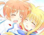 2girls blonde_hair blue_sky blush closed_eyes couple fate_testarossa happy hug kerorokjy lyrical_nanoha mahou_shoujo_lyrical_nanoha mahou_shoujo_lyrical_nanoha_a's multiple_girls open_mouth orange_hair short_twintails sky smile table takamachi_nanoha twintails yuri