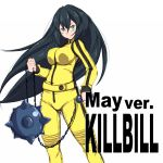 beatrix_kiddo beatrix_kiddo_(cosplay) black_hair caption clenched_hands cosplay green_eyes gundam gundam_build_divers gundam_build_divers_re:rise kill_bill kunney long_hair looking_to_the_side mace may_(gundam_build_divers_re:rise) simple_background weapon white_background yellow_jumpsuit