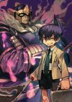 2boys armor bason belt belt_buckle black_hair black_shorts briefcase buckle cape closed_mouth crossed_arms fire green_neckwear hankuri headgear helmet holding holding_briefcase holding_weapon jacket long_sleeves looking_at_viewer male_focus multiple_boys necktie pauldrons purple_fire shaman_king shirt shorts smile spirit tao_ren v-shaped_eyebrows weapon white_shirt yellow_eyes yellow_jacket