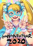 1girl 2020 blonde_hair blue_eyes blue_kimono commentary_request double_v floral_print flower hair_flower hair_ornament happy_new_year japanese_clothes kimono long_hair looking_at_viewer mask multicolored multicolored_nails nail_polish new_year obi rainbow_mika sash smile solo street_fighter street_fighter_v teko_(tawake) twintails v wrestling_mask wrist_cuffs