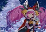 1girl bell blue_hair blurry blurry_background breasts cape christmas christmas_tree cleo_(dragalia_lost) commentary_request dark dragalia_lost eyebrows_visible_through_hair fur_trim gradient_hair hat_bell holding hood jefflink large_breasts light light_particles long_hair looking_at_viewer multicolored_hair night night_sky pink_eyes pink_hair puffy_sleeves santa_costume sky smile snow snow_globe snowflakes solo tree twintails upper_body very_long_hair