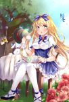 1girl bangs blonde_hair blue_bow blue_eyes blue_skirt blurry blurry_background blurry_foreground blush book bow bowtie breasts bug butterfly chair clouds cloudy_sky commentary_request cup emu_alice eyebrows_visible_through_hair flower frilled_skirt frills hair_between_eyes hair_bow hat high-waist_skirt highres holding holding_cup insect long_hair looking_at_viewer mashiro_aa medium_breasts open_book open_mouth pantyhose rabbit rose scrunchie shirt short_sleeves sidelocks sitting skirt sky swept_bangs table teacup top_hat tree white_legwear white_shirt