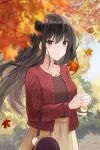1girl absurdres autumn autumn_leaves bag bangs black_hair black_shirt blurry_foreground brown_eyes cardigan closed_mouth collarbone day dyamong042 eyebrows_visible_through_hair floating_hair hair_between_eyes handbag highres jewelry leaf leaf_earrings long_hair long_sleeves maple_leaf necklace open_cardigan open_clothes original outdoors red_cardigan shiny shiny_hair shirt skirt solo standing very_long_hair yellow_skirt