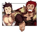 239_239 2boys abs absurdres alternate_eye_color arm_on_shoulder armor bara beard brown_hair cape chest collar couple eye_contact facial_hair fate/grand_order fate/zero fate_(series) fur_collar goatee highres iskandar_(fate) jacket leather looking_at_another male_focus military military_uniform multiple_boys muscle napoleon_bonaparte_(fate/grand_order) no_scar open_clothes open_jacket open_shirt red_eyes redhead sideburns six_fanarts_challenge sleeveless smile smirk teeth uniform yellow_eyes