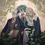 3girls blue_dress blue_eyes blue_jacket blurry blurry_background blurry_foreground capelet cardigan closed_eyes depth_of_field dress flower_(vocaloid) girl_sandwich green_capelet half-closed_eyes hands_on_another's_shoulders hatsune_miku highres holding_another's_arm ia_(vocaloid) jacket leaf leaning_on_person leaning_to_the_side light_smile long_hair looking_at_viewer multiple_girls neck_ribbon pants platinum_blonde_hair purple_hair ribbon sandwiched short_hair side-by-side sitting tree twintails v_flower_(vocaloid4) violet_eyes vocaloid white_dress white_hair wounds404