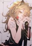 1girl animal_ear_fluff animal_ears arknights bandaid bandaid_on_nose bare_shoulders black_nails black_tank_top blonde_hair candy choker commentary_request food high_ponytail highres holding holding_food lion_ears lollipop long_hair looking_at_viewer messy_hair nail_polish siege_(arknights) solo tank_top tongue tongue_out upper_body yellow_eyes yuzibushijiang