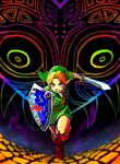 1boy abstract_background blue_eyes boots butiboco clenched_teeth green_headwear green_tunic link majora_(entity) pointy_ears running shield sword teeth the_legend_of_zelda the_legend_of_zelda:_majora's_mask weapon young_link