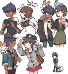 1girl 1oy ^_^ baseball_cap brown_eyes brown_hair bunny_on_shoulder charamells closed_eyes commentary creature dark_skin dark_skinned_male english_commentary english_text facing_another gen_8_pokemon handheld_game_console hat highres holding_handheld_game_console hop_(pokemon) looking_at_another nintendo_ds nintendo_switch on_head on_shoulder playing_games pokemon pokemon_(creature) pokemon_(game) pokemon_on_head pokemon_on_shoulder pokemon_swsh purple_hair scorbunny short_hair simple_background sobble standing white_background wooloo yellow_eyes yuuri_(pokemon)