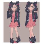 1girl black_footwear black_hair black_nails blue_eyes charamells closed_mouth commentary dress english_commentary eyelashes flat_chest full_body highres jewelry looking_at_viewer looking_away mary_(pokemon) multiple_views necklace pink_dress pokemon pokemon_(game) pokemon_swsh serious short_dress standing twintails