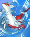 blue_sky claws closed_mouth commentary creature flying full_body gen_3_pokemon hanaki_hana highres latias legendary_pokemon no_humans pokemon pokemon_(creature) sky smile solo yellow_eyes