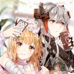 2girls arknights arm_around_shoulder bandages bangs black_gloves blonde_hair brown_eyes camisole can canned_coffee cellphone chain character_request choker fingerless_gloves flower gloves hair_between_eyes hair_flower hair_ornament hairclip hand_up head_tilt holding holding_can holding_phone horns lammmmmmbo long_hair multiple_girls phone pink_choker saria_(arknights) silver_hair smartphone spaghetti_strap upper_body white_flower wrist_wrap