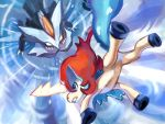 battle blue_eyes claws commentary_request creature eye_contact frown gen_5_pokemon hanaki_hana highres horn keldeo keldeo_(ordinary) kyurem legendary_pokemon looking_at_another mythical_pokemon no_humans pokemon pokemon_(creature) sharp_teeth teeth