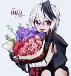 1girl bandaged_arm bandages bouquet character_name dated fingerless_gloves flower flower_(vocaloid) gloves gomiyama grey_background happy_birthday highres holding holding_bouquet jacket leaning_to_the_side multicolored_hair open_mouth pink_flower purple_flower purple_gloves purple_hair purple_jacket red_flower short_hair_with_long_locks sideways_glance sitting sleeveless sleeveless_jacket smile solo streaked_hair v_flower_(vocaloid4) violet_eyes vocaloid white_hair