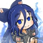 1girl aura avatar_icon blue_eyes blue_hair bow chamaji commentary damaged debt drawstring eyebrows_visible_through_hair grey_hoodie hair_between_eyes hair_bow holding holding_stuffed_animal hood hoodie long_hair looking_at_viewer lowres short_sleeves smile solo stuffed_animal stuffed_cat stuffed_toy touhou upper_body white_background yorigami_shion