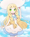 1girl :d bangs blonde_hair blue_sky clarevoir clouds cloudy_sky commentary day dress english_commentary eyelashes flat_chest green_eyes happy lillie_(pokemon) long_hair looking_at_viewer open_mouth outdoors pokemon pokemon_(game) pokemon_sm sky smile solo white_dress