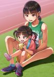 2girls :d age_difference black_hair brown_eyes brown_hair commentary grass medal multiple_girls open_mouth original otsu_natsu outdoors ponytail siblings sisters sitting sitting_on_lap sitting_on_person smile track_and_field track_uniform twintails