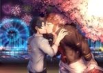 2boys artist_name bangs beard black_hair brown_hair cherry_blossoms chest closed_eyes couple eyebrows_visible_through_hair facial_hair fate/grand_order fate_(series) fireworks flower fujimaru_ritsuka_(male) goatee hand_on_another's_shoulder highres holding holding_flower kiss long_sleeves male_focus multiple_boys muscle napoleon_bonaparte_(fate/grand_order) open_clothes open_shirt pants pectorals shirt sideburns sleeves_rolled_up tree upper_body valentine white_pants yaoi yaosan233
