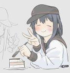 2girls =_= akatsuki_(kantai_collection) anchor_symbol artist_name black_hair black_headwear black_sailor_collar cake ergot facing_viewer flat_cap food fork grey_background hat hibiki_(kantai_collection) kantai_collection long_hair multiple_girls neckerchief red_neckwear sailor_collar simple_background solo_focus v