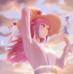 1girl arm_up belt_buckle blue_ribbon buckle butterfly_on_hand clouds day floating_hair flower from_below garter_belt hat hat_flower hat_ribbon highres long_hair long_sleeves multicolored_hair original outdoors pink_eyes pink_hair purple_hair red_flower ribbon rose shirt solo sun_hat sunflower two-tone_hair white_shirt yellow_flower yellow_headwear zero-xiuji
