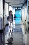 1girl bag bangs black_hair black_jacket blazer blunt_bangs bow bowtie clock commentary_request door fuu_fuu hair_ornament hairclip hallway highres indoors jacket long_hair looking_to_the_side nijisanji numbered pink_bow pink_neckwear purple_bow purple_neckwear reflective_floor school school_bag school_uniform shadow solo thigh-highs tsukino_mito very_long_hair virtual_youtuber walking white_legwear window yellow_cardigan zettai_ryouiki
