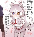 1girl :3 =3 afterimage animal_ears blue_eyes blush commentary_request cowboy_shot disembodied_limb dog_(mixed_breed)_(kemono_friends) dog_ears dog_girl dog_tail elbow_gloves eyebrows_visible_through_hair fur_trim gloves grey_fur grey_hair grey_jacket grey_legwear grey_skirt harness heterochromia highres jacket kemono_friends leash multicolored_hair pantyhose paw_print pleated_skirt scarf short_hair short_sleeves skirt sparkle swimsuit tail tail_wagging tanaka_kusao translation_request two-tone_hair white_gloves white_hair white_scarf white_swimsuit yellow_eyes