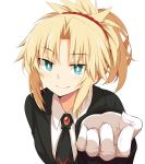 1girl alternate_costume bangs black_jacket blonde_hair blush braid breasts chata_maru_(irori_sabou) commentary_request eyebrows_visible_through_hair fate/grand_order fate_(series) gem gloves green_eyes hair_ornament hair_scrunchie highres jacket long_hair looking_at_viewer mordred_(fate) mordred_(fate)_(all) necktie ponytail red_neckwear red_scrunchie scrunchie shirt simple_background smile solo white_background white_gloves white_shirt