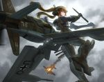 1girl aircraft airplane b-17_flying_fortress balkenkreuz blue_eyes bow_(weapon) brown_hair burning do_335 flying grey_sky headgear highres holding holding_bow_(weapon) holding_weapon long_hair looking_at_viewer luftwaffe machinery mecha_musume mixed-language_commentary original outdoors overcast personification smoke_trail solo swastika tom-neko_(zamudo_akiyuki) twintails weapon