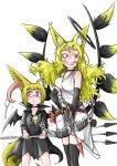 2girls absurdres animal_ears bat_wings belt black_choker black_dress black_gloves black_legwear blonde_hair blush bow_(weapon) choker crossbow crossbow_bolts doitsuken dress elbow_gloves eyebrows_visible_through_hair fox_ears fox_tail gloves grin halo highres holding multiple_girls o3o original quiver red_eyes short_hair simple_background slit_pupils smile standing tail thigh-highs weapon white_background white_dress wings