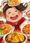 1boy brown_hair chiko_(d04099) closed_eyes danganronpa dumpling food fruit hanamura_teruteru hat jiaozi lemon male_focus medium_hair mini_hat open_mouth red_neckwear round_teeth simple_background smile solo super_danganronpa_2 teeth upper_body upper_teeth white_background white_headwear