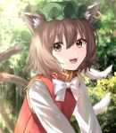 1girl :d animal_ears bangs bow bowtie brown_eyes brown_hair cat_ears cat_girl cat_tail chen day earrings eyebrows_visible_through_hair fangs green_headwear hair_between_eyes hat highres jewelry lens_flare long_sleeves looking_at_viewer mob_cap mozuno_(mozya_7) multiple_tails open_mouth outdoors red_vest shirt short_hair smile solo tail touhou tree two_tails upper_body vest white_bow white_neckwear white_shirt