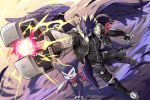 2boys arm_scarf beelzebumon belt black_belt black_bodysuit black_jacket black_wings blonde_hair bodysuit buckle claws commentary_request digimon energy_gun fangs feathered_wings firing floating folded_leg full_body fur_jacket gauntlets gloves gradient gradient_background green_eyes gun gunjima_souichirou highres holding holding_gun holding_weapon impmon jacket looking_at_viewer male_focus mask multiple_belts multiple_boys multiple_wings open_clothes open_jacket open_mouth ray_gun red_gloves red_scarf running scarf serious shin_guards short_hair smiley_face spikes tail third_eye weapon wings