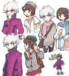 1boy 1girl ? ^_^ bag beet_(pokemon) brown_eyes brown_hair charamells closed_eyes commentary creature english_commentary eye_contact facing_viewer floating gen_5_pokemon gen_8_pokemon hat highres holding holding_bag looking_at_another pokemon pokemon_(creature) pokemon_(game) pokemon_swsh reuniclus short_hair simple_background standing violet_eyes white_background white_hair wooloo yuuri_(pokemon)