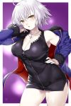 1girl absurdres ahoge bangs black_dress blush border breasts cowboy_shot dress eyebrows_visible_through_hair fate/grand_order fate_(series) fur_collar fur_trim hair_between_eyes hand_on_hip highres jacket jeanne_d'arc_(alter)_(fate) jeanne_d'arc_(fate)_(all) jewelry large_breasts necklace onsoku_inu open_clothes open_jacket purple_background short_hair silver_hair solo tsurime white_border wicked_dragon_witch_ver._shinjuku_1999 yellow_eyes