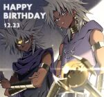 2boys :q armlet bare_shoulders belt black_belt blonde_hair cape card chain dark-skinned_male dark_skin dated earrings eye_focus facial_mark happy_birthday holding holding_card hood hood_down jewelry long_hair looking_at_another male_focus marik_ishtar millennium_rod multiple_boys parted_lips pira_811 pointy_ears purple_cape smile spiky_hair teeth tongue tongue_out upper_body yami_marik yu-gi-oh! yu-gi-oh!_duel_monsters