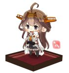 1girl ahoge artist_name black_eyes black_skirt boots brown_hair carpet chibi detached_sleeves double_bun hairband hands_on_hips headgear isometric japanese_clothes kantai_collection kongou_(kantai_collection) long_hair popped_collar remodel_(kantai_collection) ribbon-trimmed_sleeves ribbon_trim simple_background skirt smile solo standing taisa_(kari) thigh-highs thigh_boots white_background