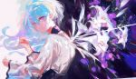 1girl collar commentary dress expressionless flower flower_(vocaloid) from_behind highres lily_(flower) long_hair looking_at_viewer looking_back purple_collar qq_orikou solo upper_body v_flower_(vocaloid4) violet_eyes vocaloid white_dress white_flower white_hair