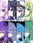 6+girls bangs bare_shoulders black_hair black_heart blanc blonde_hair blue_eyes blue_hair blush brown_hair closed_mouth commentary_request cut-in d-pad d-pad_hair_ornament expressionless eyebrows_visible_through_hair face green_hair green_heart hair_between_eyes hair_ornament hair_ribbon hat long_hair looking_at_viewer multiple_girls neptune_(neptune_series) neptune_(series) noire ponytail portrait power_symbol purple_hair purple_heart red_eyes ribbon short_hair short_hair_with_long_locks sidelocks smile symbol-shaped_pupils twintails up_(mmmmmmmmss) vert violet_eyes white_hair white_heart