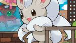 :d blue_sky brown_eyes building cinccino city clouds cloudy_sky commentary day english_commentary eo_kanako gen_5_pokemon happy multiple_sources official_art open_mouth outdoors pokemon pokemon_trading_card_game sky smile solo standing third-party_source