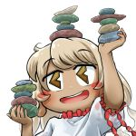 1girl balancing_on_head chamaji commentary earlobes ebisu_eika eyebrows_visible_through_hair frilled_shirt frills holding_rock looking_at_viewer lowres open_mouth puffy_short_sleeves puffy_sleeves rock rock_balancing shirt short_hair short_sleeves smile solo stack stacking stone touhou upper_body white_background