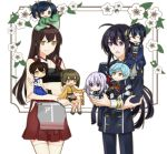 4boys 4girls :d ahoge akagi_(kantai_collection) apron aqua_hair black_hair black_neckwear blue_eyes blue_hair blue_skirt brown_hair chibi cou cowboy_shot crossover full_body gloves hair_ribbon hairband hakama_skirt hiryuu_(kantai_collection) honebami_toushirou ichigo_hitofuri japanese_clothes kaga_(kantai_collection) kantai_collection kariginu lavender_hair long_hair mikazuki_munechika military military_uniform multiple_boys multiple_girls muneate namazuo_toushirou necktie one_side_up open_mouth ponytail red_skirt ribbon sayagata short_hair side_ponytail skirt smile souryuu_(kantai_collection) straight_hair tassel tasuki touken_ranbu twintails uniform violet_eyes white_gloves white_legwear white_ribbon wide_sleeves yellow_eyes