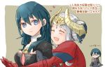 1boy 2girls armor blue_eyes blue_hair byleth_(fire_emblem) byleth_(fire_emblem)_(female) byleth_(fire_emblem)_(male) cape closed_eyes closed_mouth edelgard_von_hresvelg fire_emblem fire_emblem:_three_houses headpiece horns looking_back multiple_girls open_mouth robaco short_hair simple_background smile upper_body white_hair